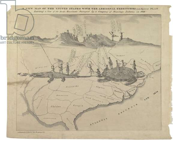 A New Map of the United States with the Addiional (sic) Territories on an Improved Plan, Exhibiting a View of the Rocky Mountains Surveyed by a Company of Winebago Indians in 1828 (litho)