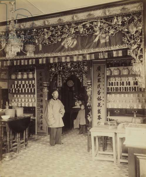 Chinese apothecary, view from San Francisco's Chinatown, 1870-80 (albumen print)