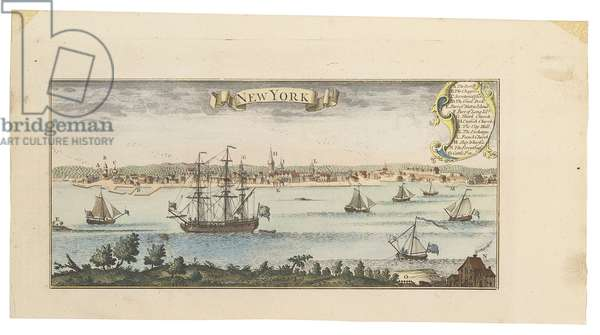View of New York, c.1740 (hand-coloured engraving)