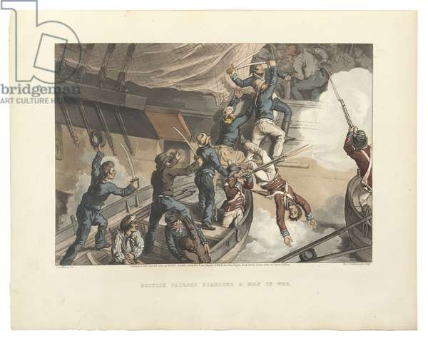British Sailors Boarding a Man of War, illustration from 'Historic, Military and Naval Anecdotes', engraved by William Thomas Fry (1789-1843) and Thomas Sutherland (1785-1838), 1819 (hand-coloured aquatint)