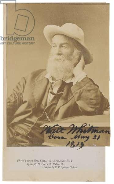 Walt Whitman, Brooklyn, September 1872 (b/w photo)