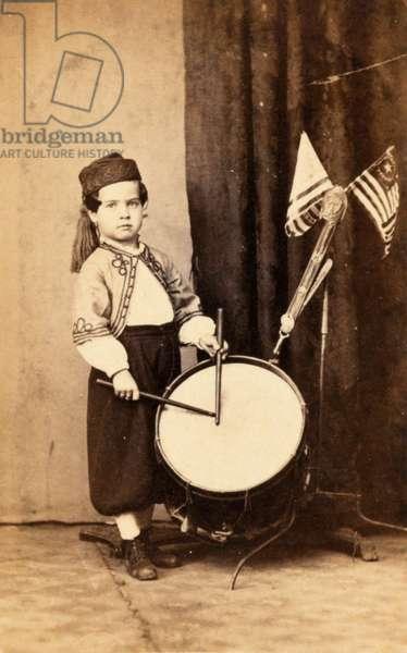 Willie Bagley, Zouave drummer boy, c.1865 (b/w photo)
