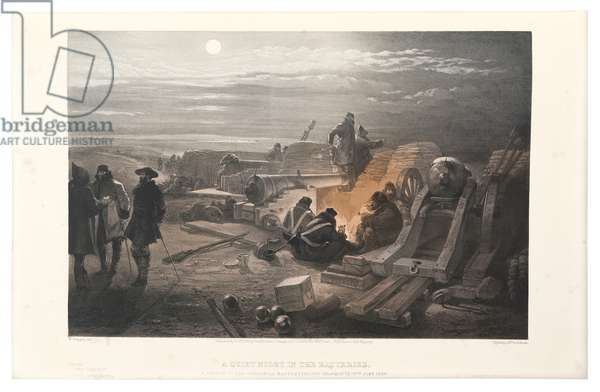 A Quiet Night in the Batteries, illustration from 'The Seat of War in the East', printed by Day & Son, 1855 (colour litho)