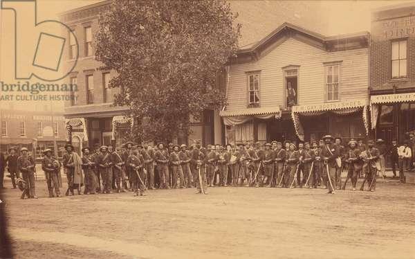Cavalry unit, Colorado Springs, 1880s (b/w photo)