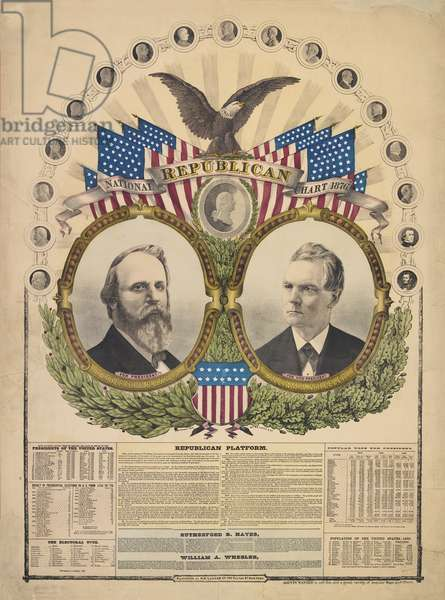 National Republican Chart, published by H.H. Lloyd, 1876 (hand-coloured litho)