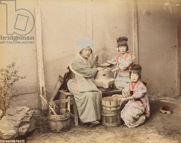 Making paste, c.1890 (hand-coloured albumen print)
