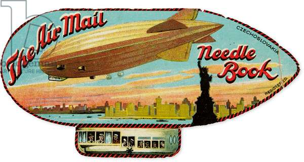 'The Air Mail Needle Book', package of needles in form of an airship, c.1926-26 (colour litho)