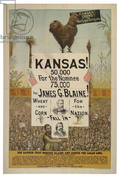 Kansas Crows for Her Loyal Delegates: The Banner that Boosted Blaine and Locked the Logan Link, published by J.M.W. Jones, 1884 (chromolitho)