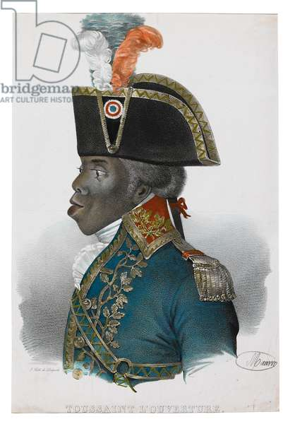 Toussaint l'Ouverture, engraved by Francois Seraphin Delpech (1778-1825) 1838 (hand-coloured litho)