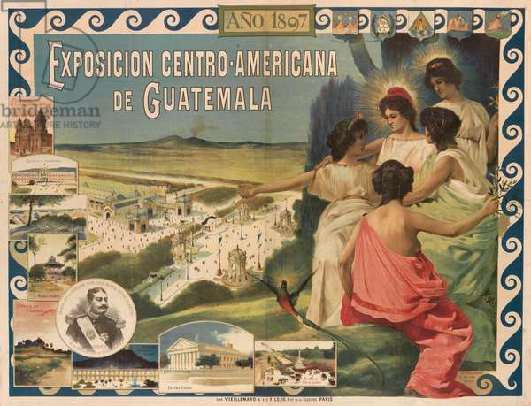 Poster advertising the Central American Exposition in Guatemala, 1897 (colour litho)