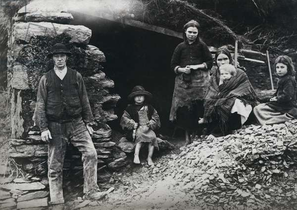 An evicted family at Glenbeigh, Ireland, 1888 (albumen print)