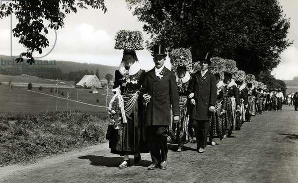 Wedding procession in the Schwarzwald, Germany (b/w photo)