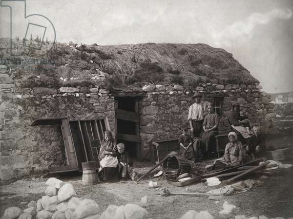 An evicted family at Derrybeg, County Donegal, Ireland, late 1880s (albumen print)