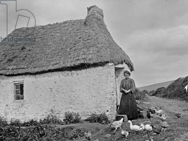 A housewife with her poultry, c.1910 (gelatin silver print)