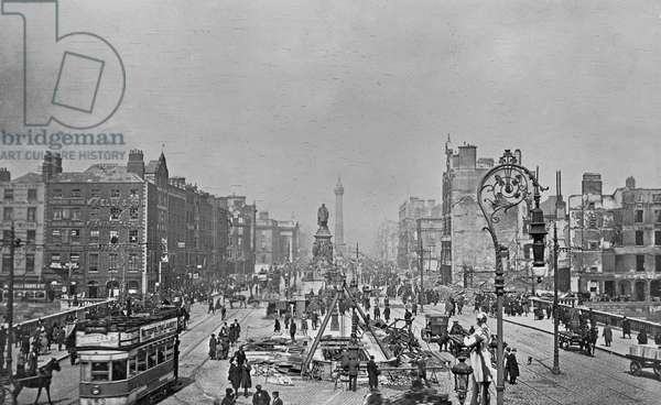O'Connell Street and Bridge following the Easter Rising, Dublin, Ireland, 1916 (gelatin silver developed out print)