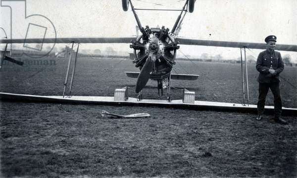 Blown over through landing down-wind, No. 2 Flying Training School, Royal Air Force, Digby, Lincolnshire, 1928-30 (b/w photo)
