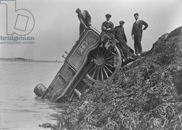 A train derailed by IRA action at Cloghjordan, Country Tipperary, during the Civil War, Ireland, 1922-23 (gelatin silver developed out print)