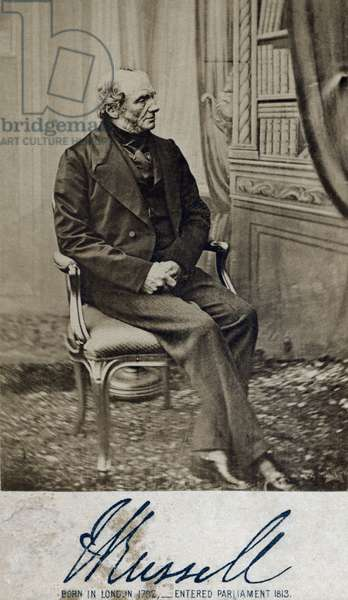 John Russell, 1st Earl Russell 18 August 1792 – 28 May 1878, English  Whig, Liberal Politician, twice Prime Minister of the United Kingdom, grandfather of Bertrand Russell