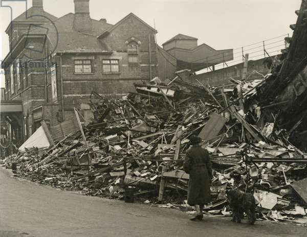 View of the wreckage of Herne Hill Station, following a flying bomb attack during World War Two, London, 1944 (b/w photo)