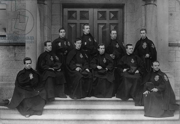 A group of Passionist priests at the Maynooth seminary, Ireland, c.1895 (platinum print)