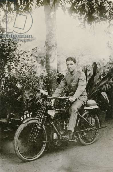 Motorcyclist of the Royal Sussex Regiment (b/w photo)