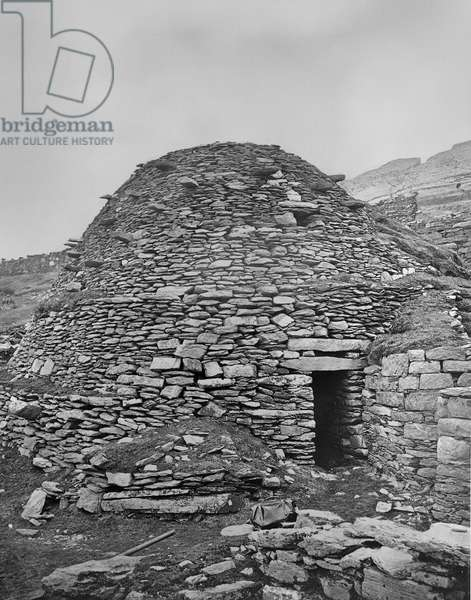 Monastery building on Skellig Michael, a tiny rocky island off the Kerry coast which was a noted centre of the early Celtic church, from 'Notes on Irish Architecture' by Lord Dunraven, 1875 (carbon print)