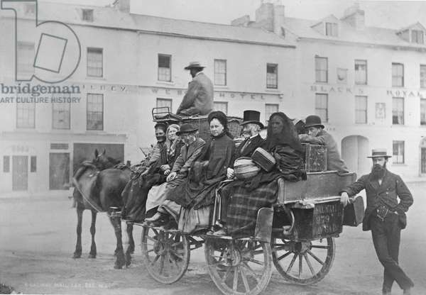Passengers prepare for their journey on Bianconi's Galway-Clifden Mail Car, Ireland, 1880s (albumen print)