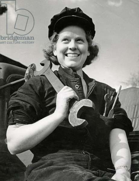 MT Driver Mildred Davis, of the Canadian Women's Division, RCAF, 1939-45 (b/w photo)