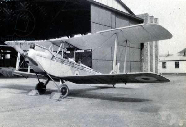 DH Moth, No. 2 Flying Training School, Royal Air Force, Digby, Lincolnshire, 1928-30 (b/w photo)