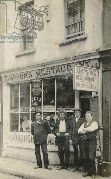 Men posing outside the Borough Restaurant, London, c.1900-20 (b/w photo)