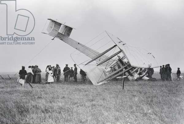 Alcock and Brown's aircraft crash-landed in Derrygimla Bog, near Clifden, County Galway, Ireland, 1919 (gelatin silver print)