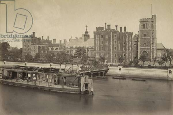 Lambeth Palace and Pier, London (b/w photo)