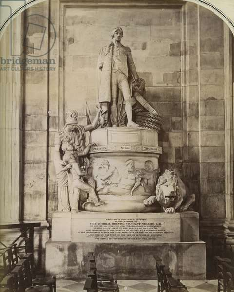Memorial to Admiral Nelson, St Paul's Cathedral, London (b/w photo)