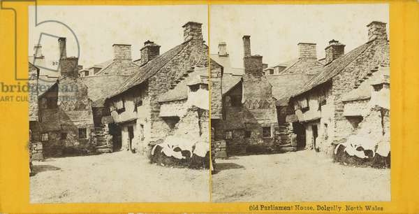 Stereoscopic view of Old Parliament House, Dolgelly, North Wales (b/w photo)