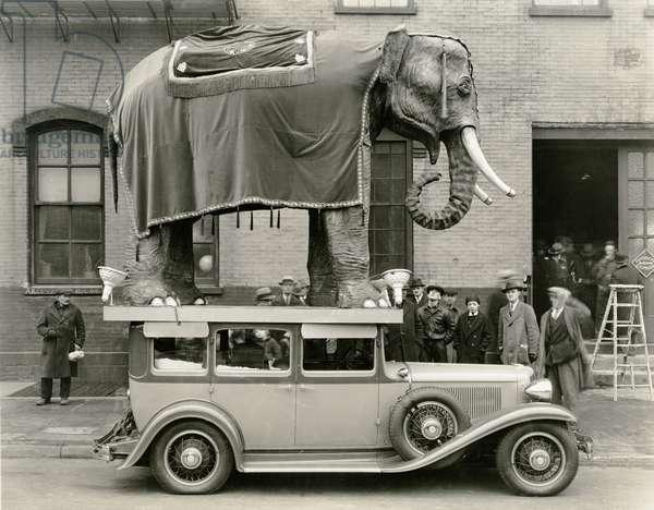 Model elephant atop a vintage motor (b/w photo)