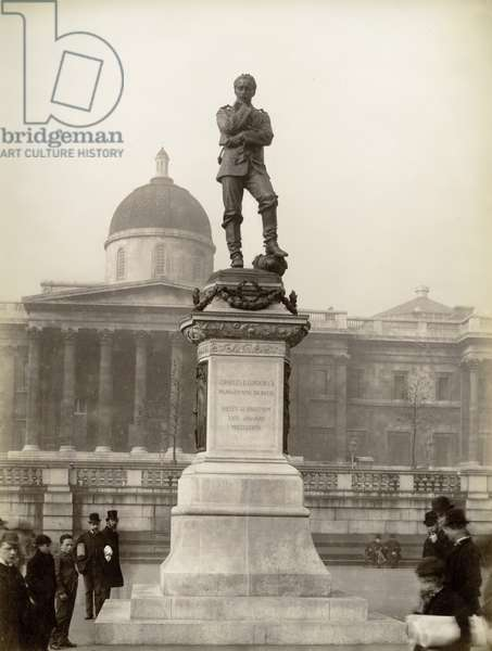 Statue of Major General Charles G. Gordon, Trafalgar Square, London (b/w photo)