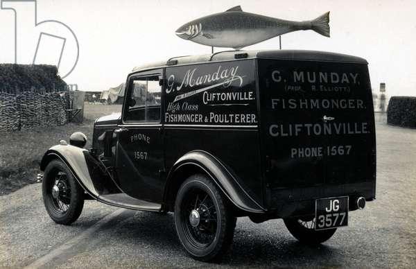 Fishmonger's van, Cliftonville, Kent, UK (b/w photo)