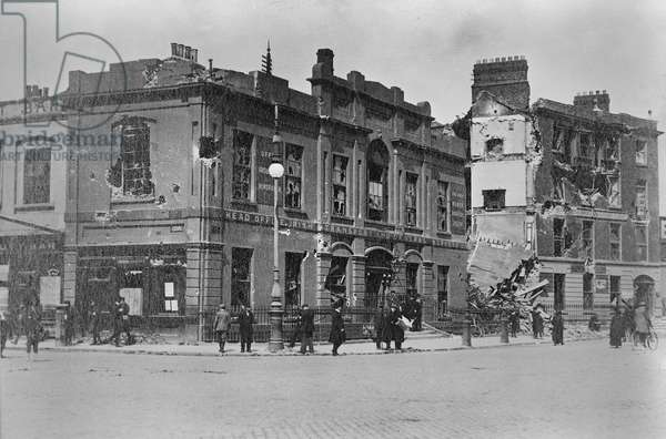 Damage in Dublin following the Easter Rising of 1916 (gelatin silver developed out print)