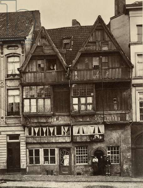 Antwerp, Old Houses of Wood (b/w photo)
