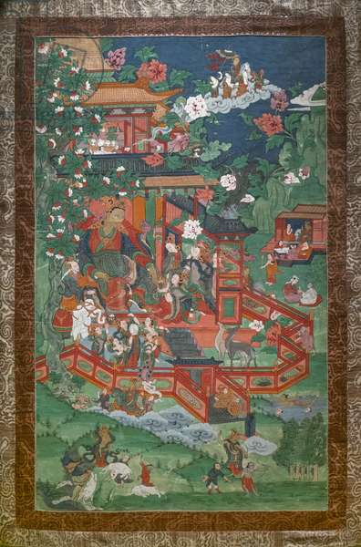 Siddhartha's wedding and other scenes. East Tibet. Second half of the 19th century. Xylography painted on canvas.