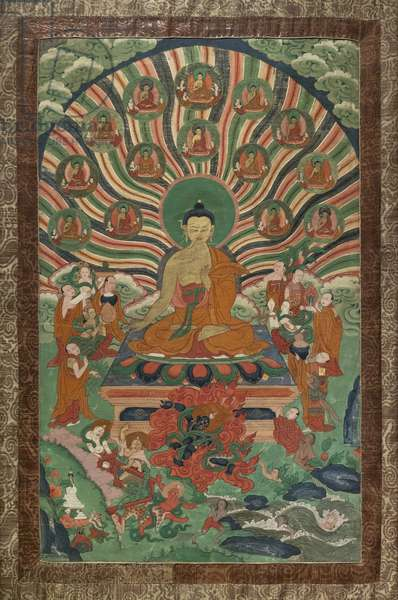 The miracle of Shravasti. East Tibet, second half of the 19th century. Xylography painted on canvas.