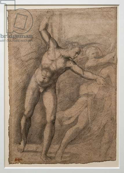 Study after Gladiator Borghese, circa 1853-1856. Black and blood stone on paper
