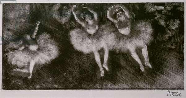 Three ballet dancers. Around 1878-1880. Monotype has black ink.
