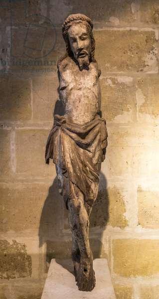 Christ en bois, debut 14th century (Wooden Christ, early 14th century) Cistercian Monastery of Royaumont (abbey) 1228-1235 Asnieres-sur-Oise (Asnieres sur Oise), Val-d'Oise (Val d'Oise) ©Sylvain Collet/Leemage