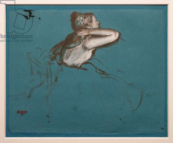"""Sitting dancer turned to the right (study for the seated figure of """"Repetition de ballet sur la scène""""). 1873. Oil and paint has essence on paper"""