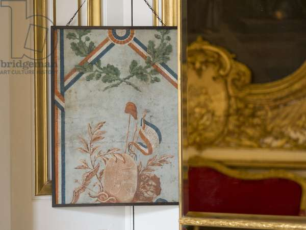 Galerie Doree transformed into National Printing at the Revolution: remains of paper with blue background cut of tricolor strips, with revolutionary symbols and Phrygian cap. Banque de France. Hotel de Toulouse, former hotel de la Villiere, Paris - Hotel de Toulouse, headquarters of the Banque de France -