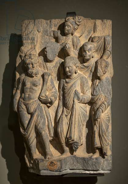 Scene of the life of Buddha with monks and Vajrapani. Pakistan, Peshawar region. Art of Gandhara, 1st and 3rd. Shale.