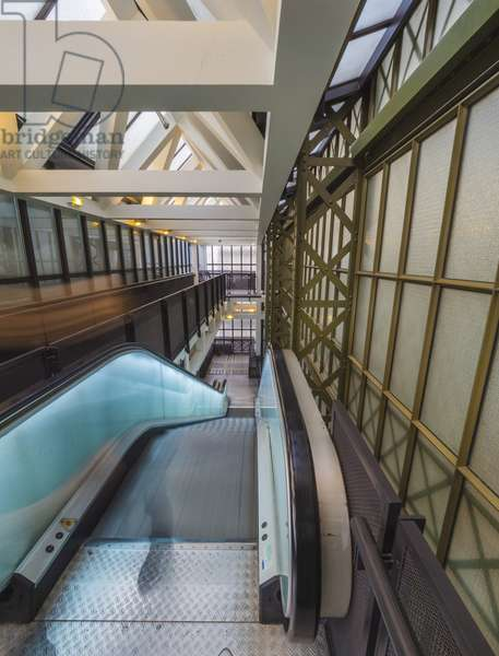 The Orsay Museum. Paris. France - Mechanical staircase among the metal frame of the structure and the beams and walkways - Musee d'Orsay, Paris - Photography 2017