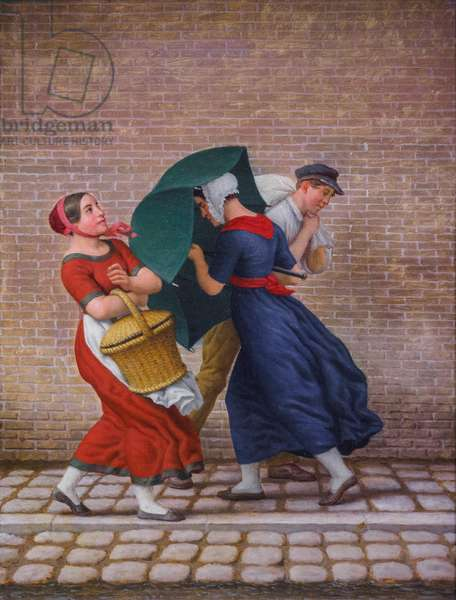 A Street Scene with Gale of Wind and Rain, 1846 (oil on canvas)