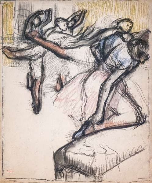Dancers practicing at the Opera foyer. Around 1890. Pastel and charcoal on paper.